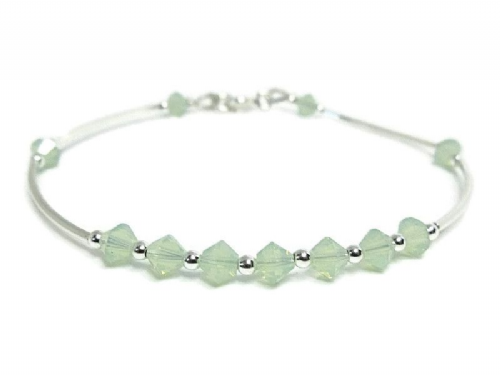 Sterling Silver Curves Bridesmaids Bangle Bracelet With Green Opal Swarovski Crystals